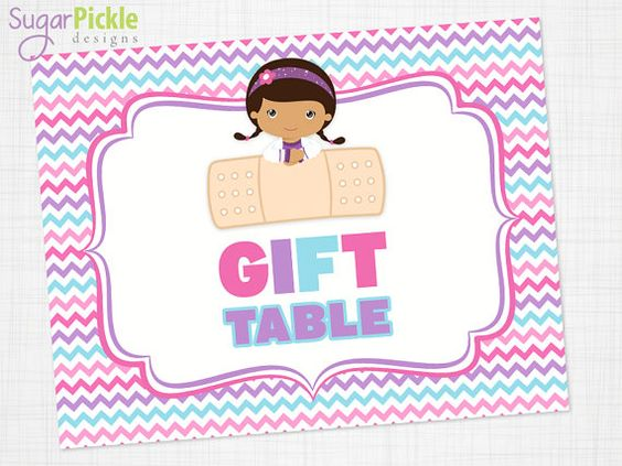 Doc McStuffins Birthday Gift Table Sign, Gift Table printable, Doc.
