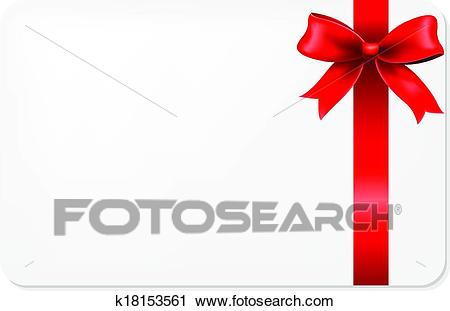 Red Bow And Blank Gift Tag Clipart.