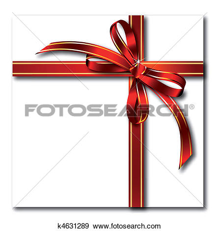 Clip Art of Gift red bow on gold tape. Vector k4631289.