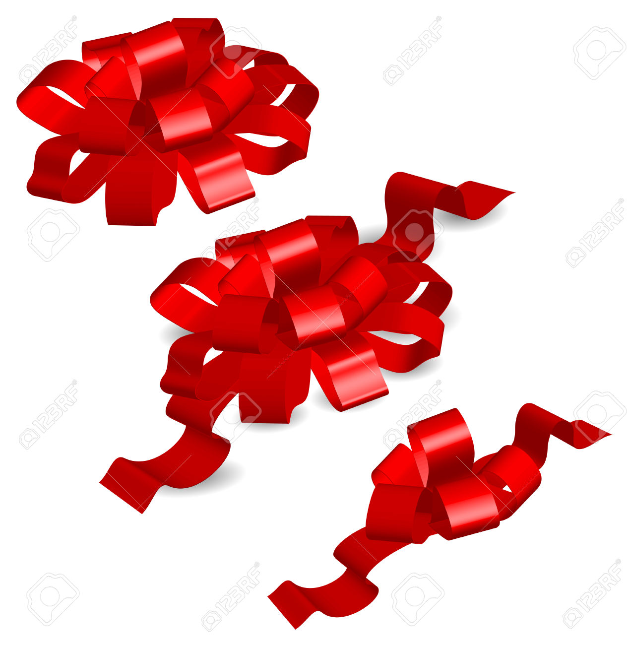 Red Bows On White Background, Gift Tape, Isolated Object, Vector.