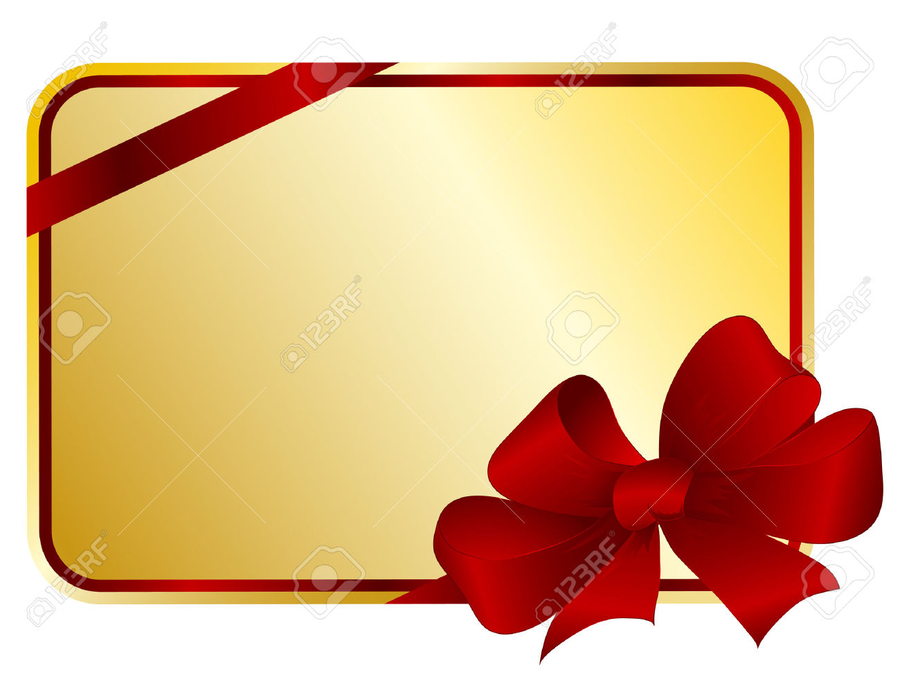Gift Card With A Bow And A Tape Royalty Free Cliparts, Vectors.