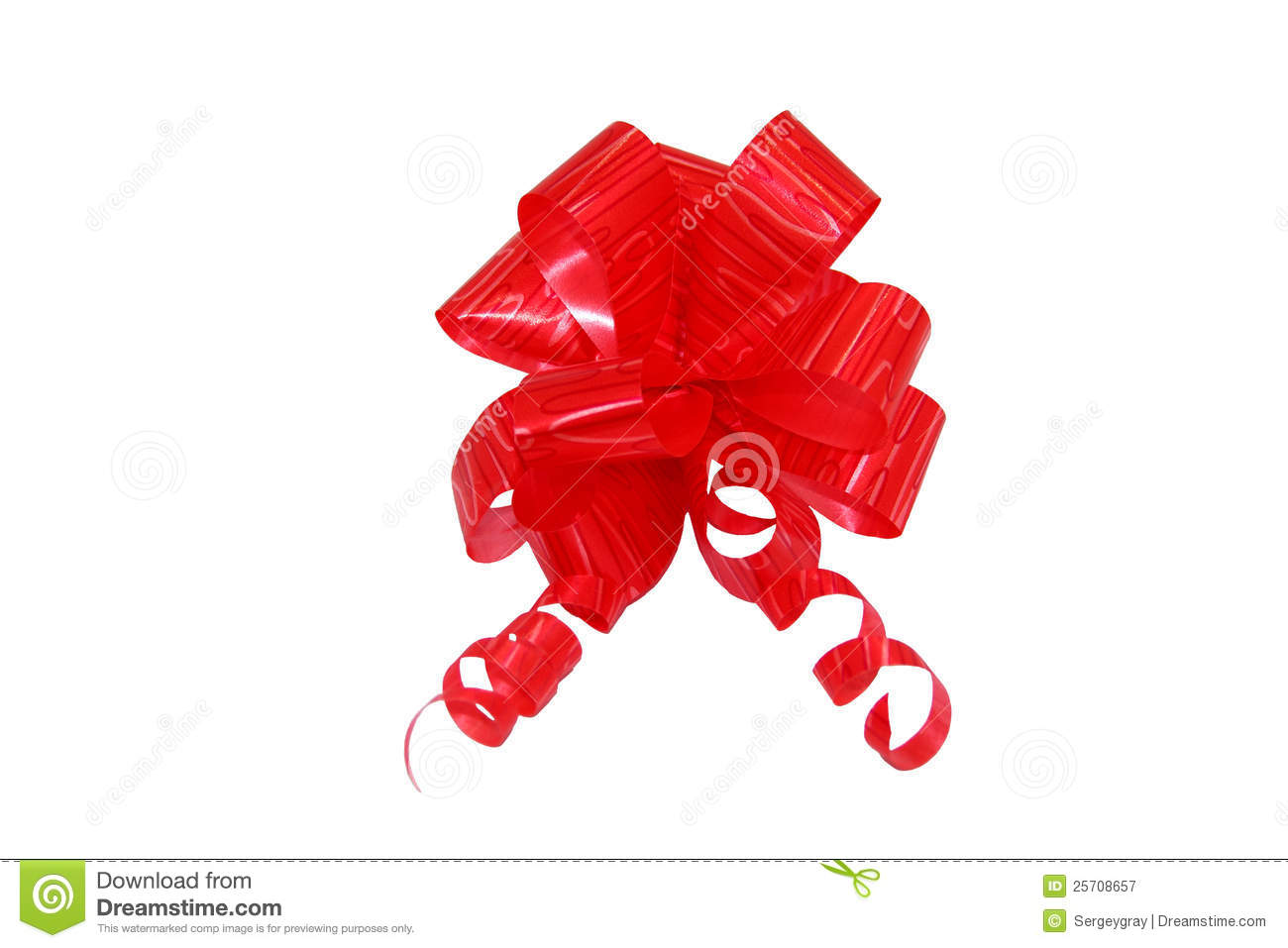 The Red Bow For Gift, Tape. Insulated On White Royalty Free Stock.