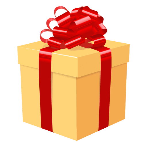 Yellow gift box red bow icon 3.