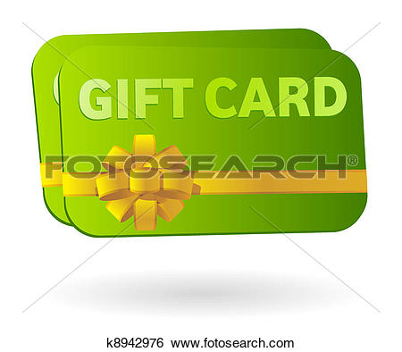 Clip Art of Isolated gift card with ribbon k8942976.