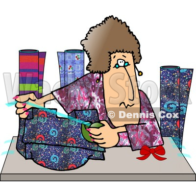 Gift Wrapping Presents at a Shopping Center Clipart Picture.
