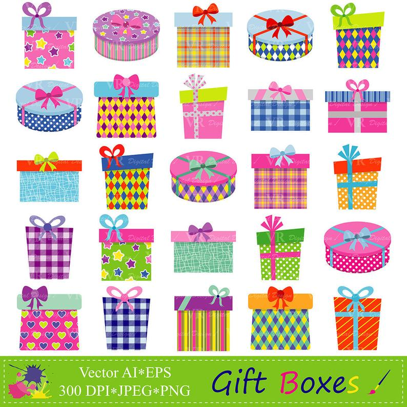 Gift Boxes Clipart, Gifts Clipart, Presents Clip Art, Birthday Party  Presents Clip Art, Digital Download Vector Clip Art.