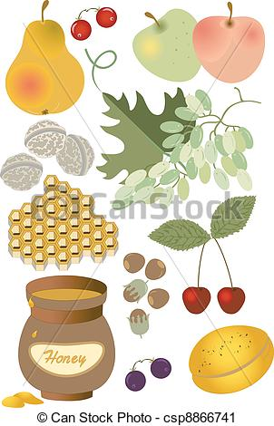 Vector Clip Art of Wholesome food. Summer.