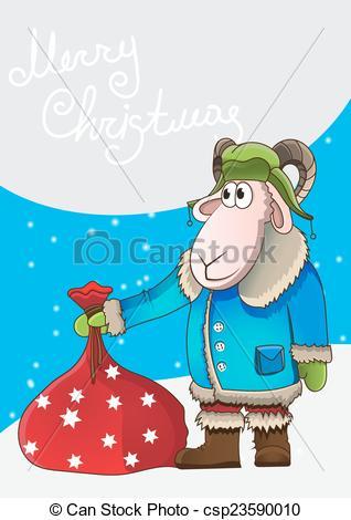 Vector Clip Art of Xmas illustration cartoon sheep with bag gifts.