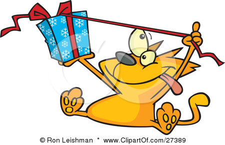 Clipart Illustration of a Spoiled Orange Cat Sitting And Pulling.