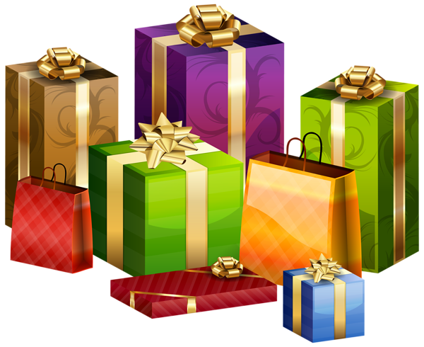 Wrapped Gifts Transparent PNG Clip Art Image.
