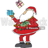 Woman Gift Wrapping Presents at a Shopping Center Clipart Picture.
