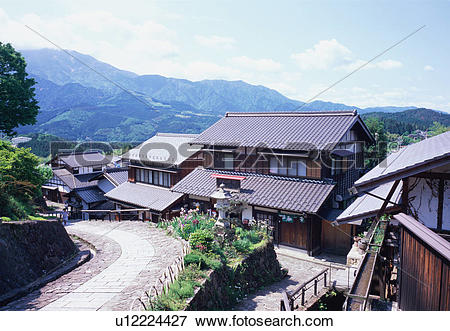 Picture of Residential houses in Magome, Gifu Prefecture, Japan.