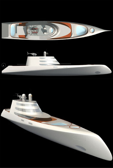 "A"" Luxury Giga Yacht by Phillipe Starck."