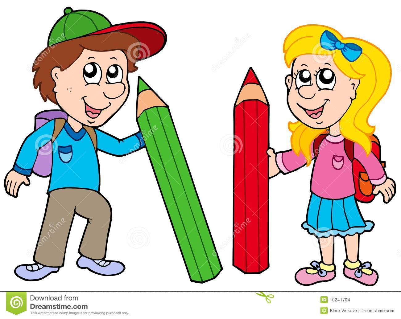 Boy And Girl With Giant Crayons Stock Images.