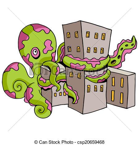 Clip Art Vector of Giant Octopus Attacks City.