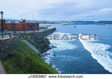 Picture of Spain, Asturias, Gijon, Sea, Promenade, Wave, Waves.