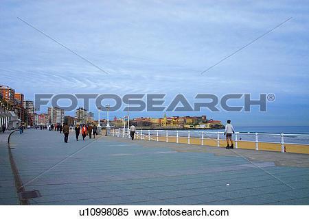 Stock Image of Spain, Asturias, Gijon, City, Town, Beach, Seaside.