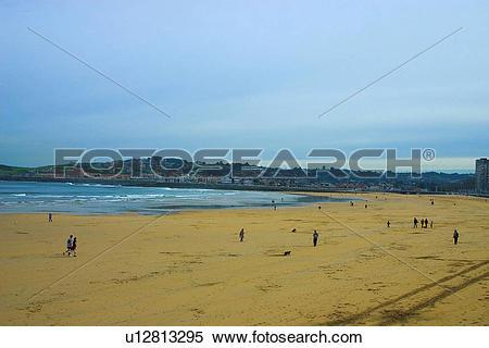 Stock Image of Spain, Asturias, Gijon, City, Town, Beach, Sand.