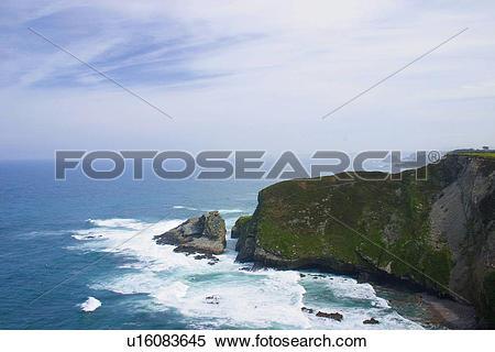 Stock Image of Spain, Asturias, Gijon, Nature, Landscape, Rock.