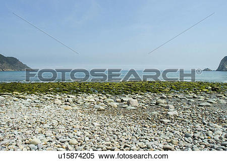 Stock Image of Spain, Asturias, Gijon, Beach, Artejo, Artejo beach.