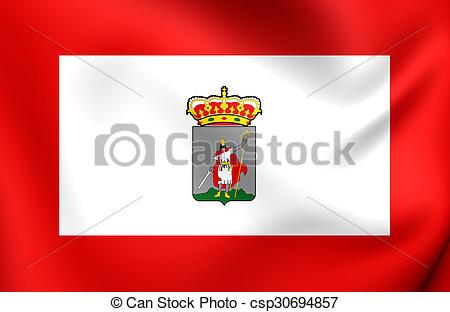 Stock Illustrations of Flag of Gijon City, Spain..