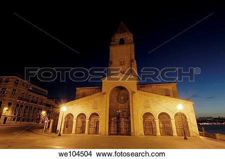 Stock Photo of Church of San Pedro at night, Gijon, Asturias.