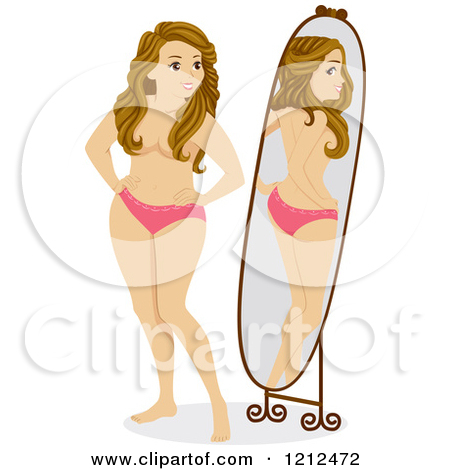 Cartoon of a Curvy Teen Gil Looking at Herself in a Mirror and.