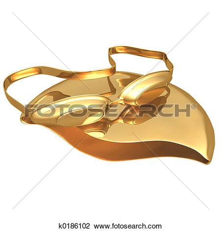 Clip Art of Gilded Swimming k0186102.