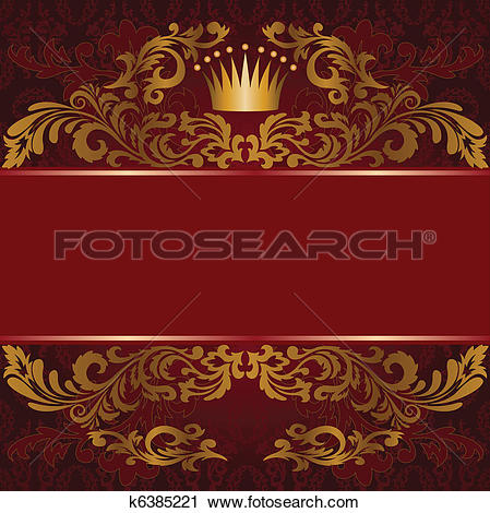 Clipart of Red background with gilded ornament k6385221.