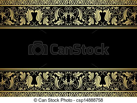 Clipart Vector of Gilded frame with decorative elements in retro.
