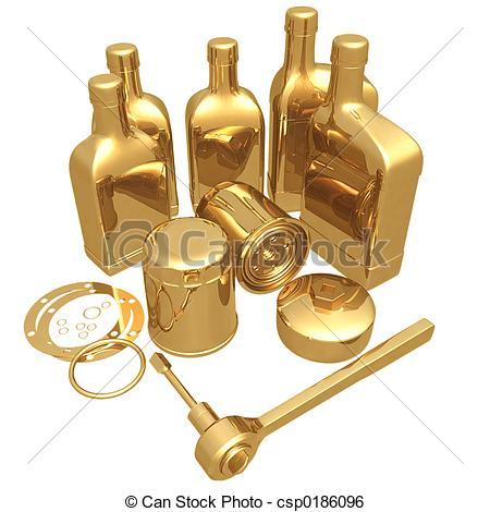 Stock Illustration of Gilded Oil Change 3D csp0186096.