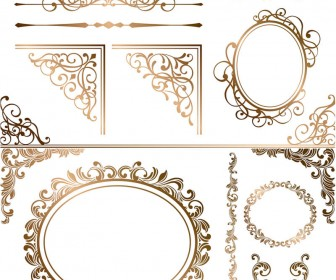 Gilded decorative ornaments vector.
