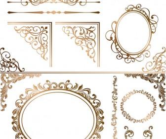 Gilded decorative ornaments vector.
