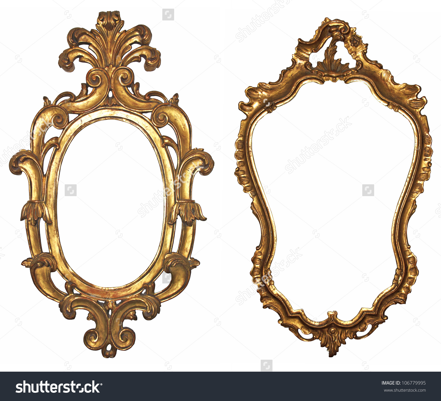 Old Gilded Wooden Frames Mirrors Stock Photo 106779995.