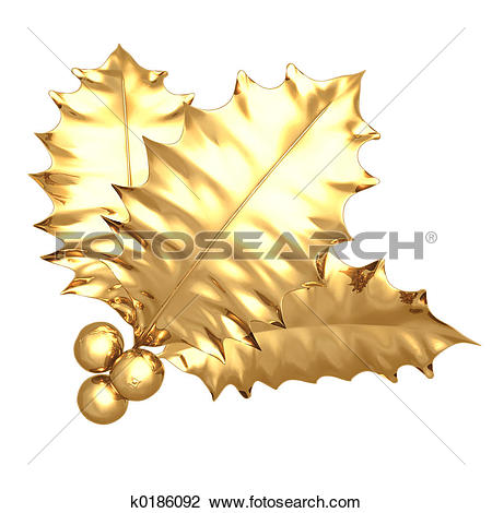 Clip Art of Gilded Holly k0186092.