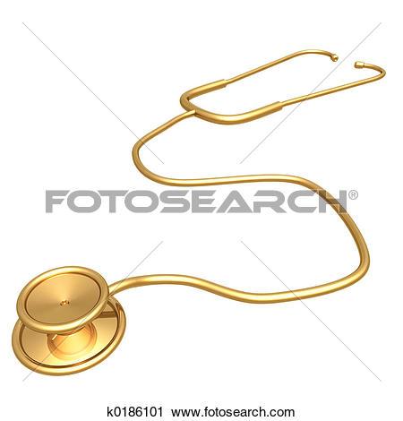Clipart of Gilded Stethoscope k0186101.