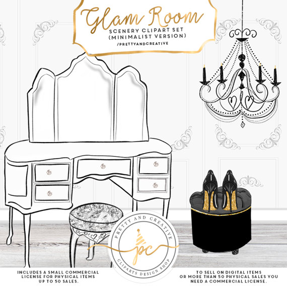 Glam Room Fashion Clipart Girlie Clipart by PrettyAndCreative.