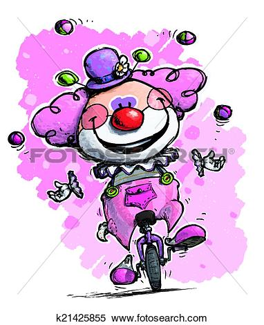 Clipart of Clown on Unicycle Juggling Girlie Colors k21425855.