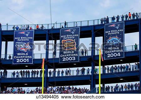 Stock Image of Super Bowl Champion banners at Gillette Stadium.