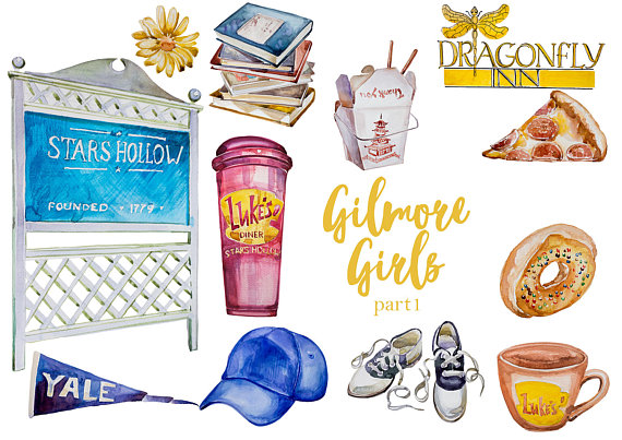 Watercolor Gilmore Girls (Part1) Clipart Set,Lorelai and Rory,Stars.