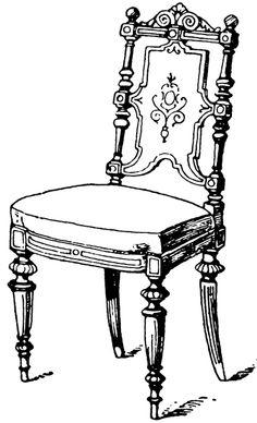 Victorian furniture clip art, vintage couch set, living room sofa.