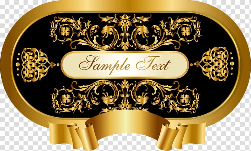 Royal billboard black retro gilt transparent background PNG.