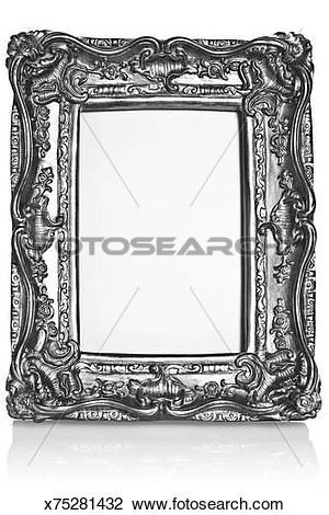 Stock Photo of Gilt ornate silver picture frame / photo frame.
