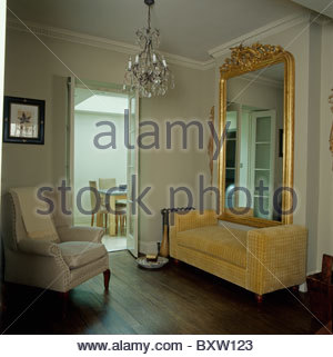 Large Ornate Gilt Antique Mirror On Wall Above Console Table In.