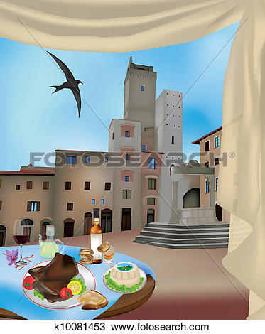 Clipart of San Gimignano 2 k10081453.