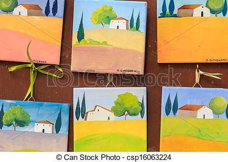 Clip Art of Small souvenir paintings of San Gimignano, Italy.