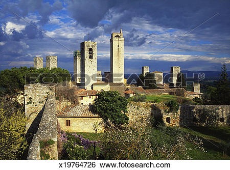 Stock Images of Towers of the Duomo Church, San Gimignano, Tuscany.