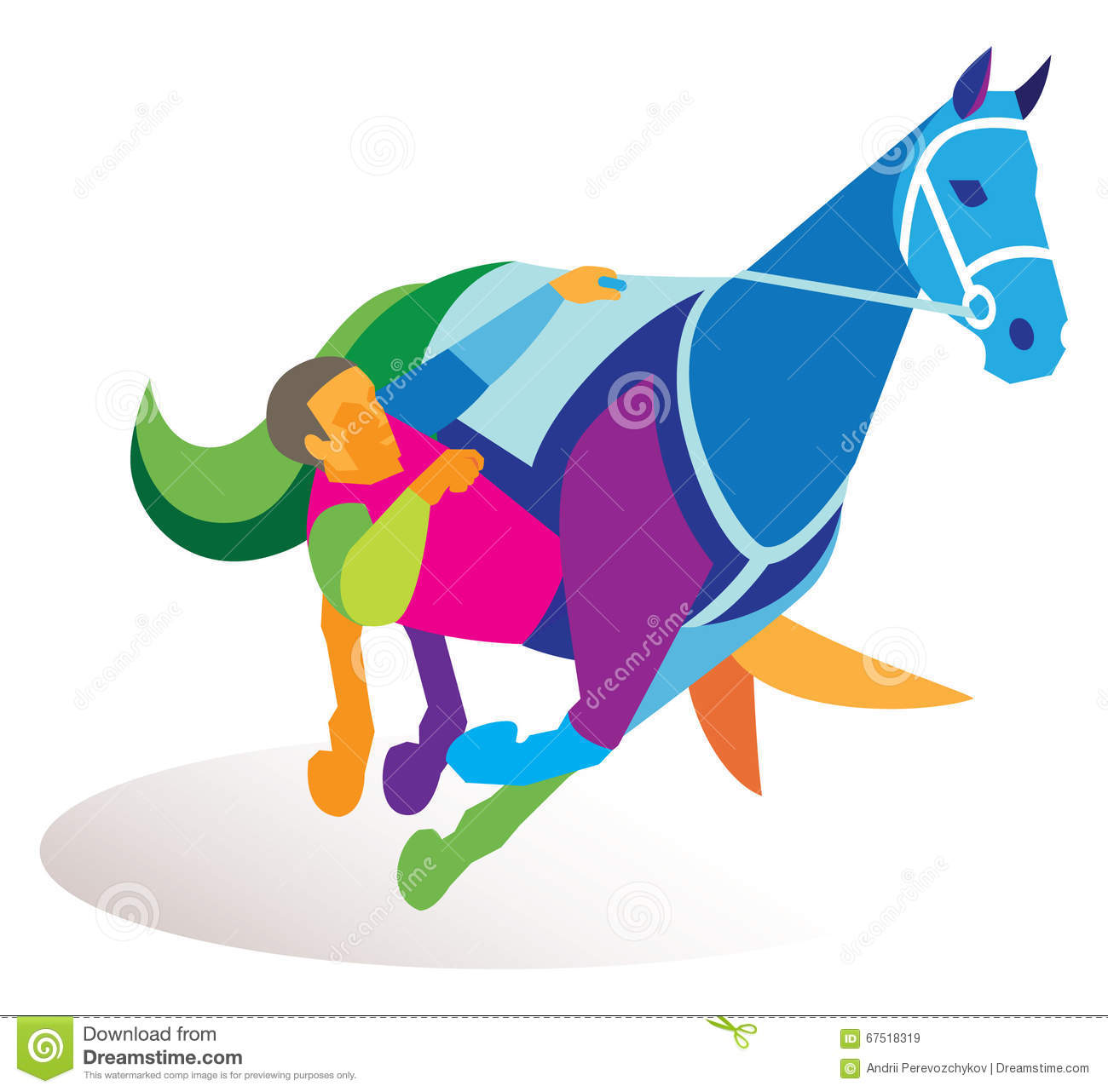 Acrobat Performs A Complicated Gimmick With A Horse Stock Vector.