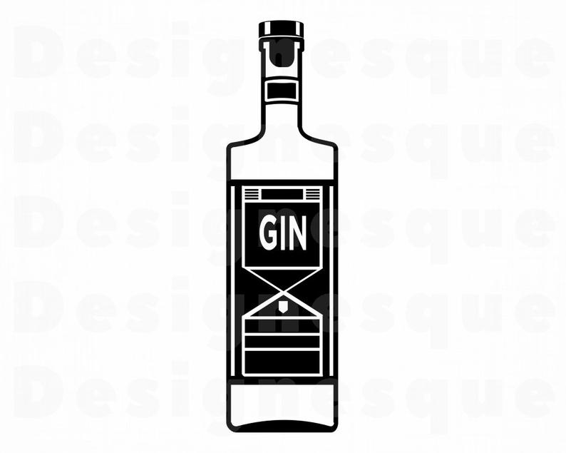 Gin Bottle SVG, Gin Svg, Alcohol Bottle Svg, Gin Clipart, Gin Files for  Cricut, Gin Cut Files For Silhouette, Gin Dxf, Gin Png, Eps, Vector.
