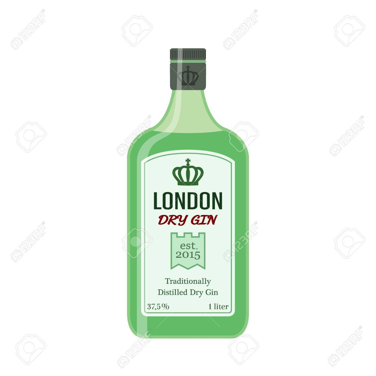 Traditional dry gin in green bottle. Alcohol drink in flat vector...